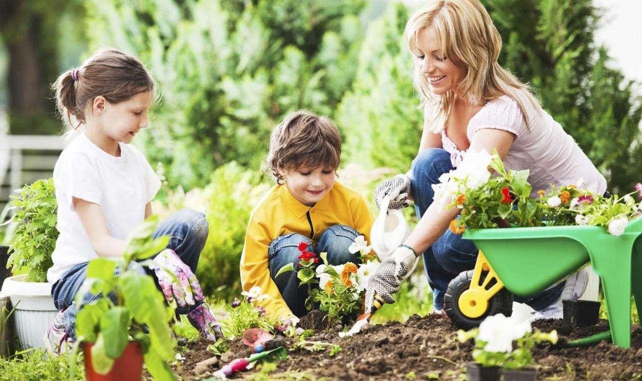 Дети помогают маме в огороде